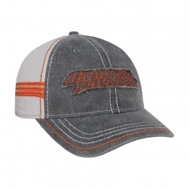 Harley-Davidson Men's Black/Orange/Gray Ballcap - Overseas Tour | Restored