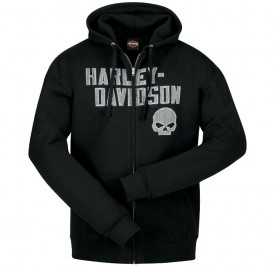 Men's Black Hooded Zippered Skull Graphic Sweatshirt - Overseas Tour | Cracked G