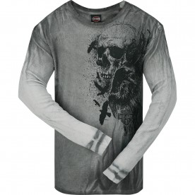 Harley-Davidson Men's Long-Sleeve Dyed Thermal Shirt with Raw Edge - Osan Air Base | Crow Skull