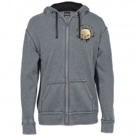 Men's Charcoal Burnout Wash Zippered Hooded Sweatshirt with Raw Edge - Overseas Tour | G Star