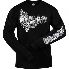 Harley-Davidson Military - Men's Black Long-Sleeve Graphic T-Shirt - Al Udeid Air Base | Ghost H-D