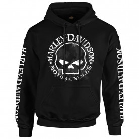 Harley-Davidson Military - Men's Skull Graphic Hooded Pullover Sweatshirt - Handmade Willie | Overseas Tour