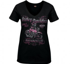 Women's Skull Graphic V-Neck T-Shirt - Camp Leatherneck | Hitch