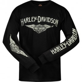 Harley-Davidson Military - Men's Black Long-Sleeve Graphic T-Shirt - RAF Mildenhall | Logo Wings
