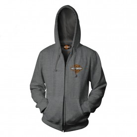 Harley-Davidson Men's Zip Hoodie - Overseas Tour | Military Skull Text