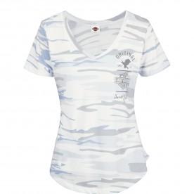 Harley-Davidson Military - Women's Camoflage Blue V-Neck Graphic T-Shirt - USAG Grafenwohr | Original Snow - MADE IN USA