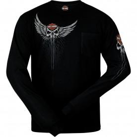 Harley-Davidson Men's Long-Sleeve Pocket T-Shirt - USAG Grafenwohr | Skull Drop