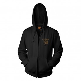 Harley-Davidson Military - Men's Skull Graphic Zippered Hoodie Sweatshirt - Overseas Tour | Smoking Eyes