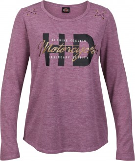 Women's Dark Purple Graphic Ribbed Shirt with Foil and X-Stitch - Kadena Air Base | Tact