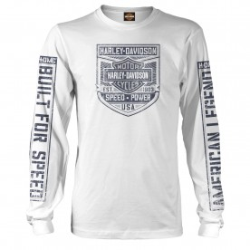 Harley-Davidson Men's Long-Sleeve Crew Neck White Graphic T-Shirt - Camp Leatherneck | Triggered
