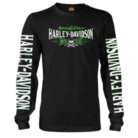 Harley-Davidson Military - Men's Long-Sleeve Crew Neck Graphic T-Shirt - Ramstein AB | Villain