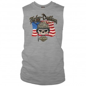 Men's Heather Grey Graphic Muscle T-Shirt | Overseas Tour - Willie G Flag